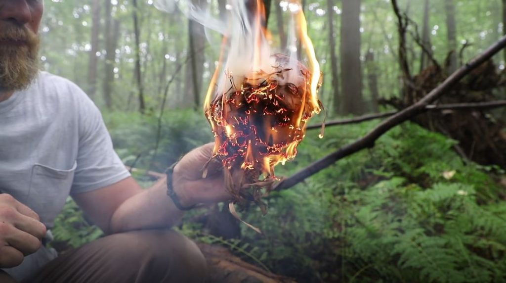 lighting fire with natural tinder