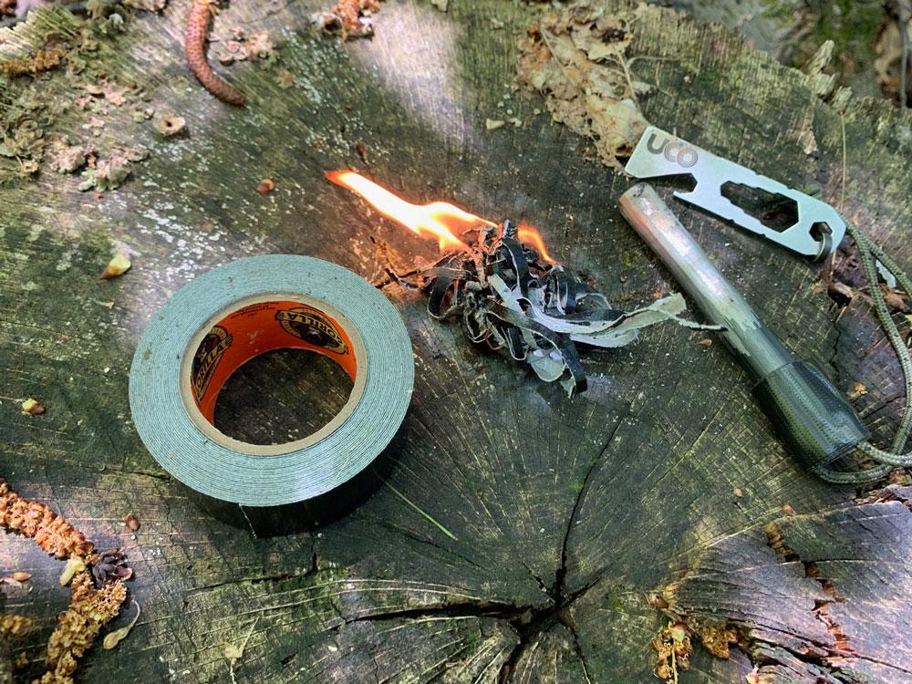 Lighting duct tape with ferro rod